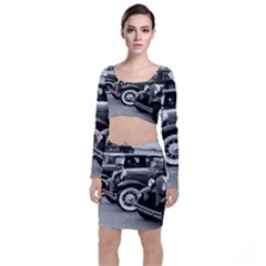 Vehicle Car Transportation Vintage Long Sleeve Crop Top & Bodycon Skirt Set