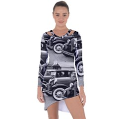 Vehicle Car Transportation Vintage Asymmetric Cut Out Shift Dress