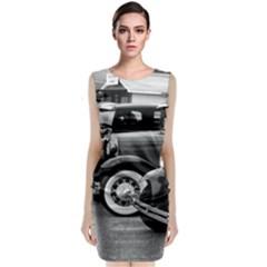 Vehicle Car Transportation Vintage Sleeveless Velvet Midi Dress