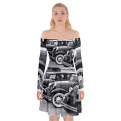Vehicle Car Transportation Vintage Off Shoulder Skater Dress
