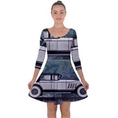 Vintage Car Automobile Auburn Quarter Sleeve Skater Dress