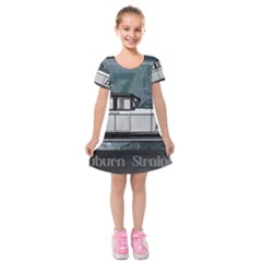 Vintage Car Automobile Auburn Kids  Short Sleeve Velvet Dress
