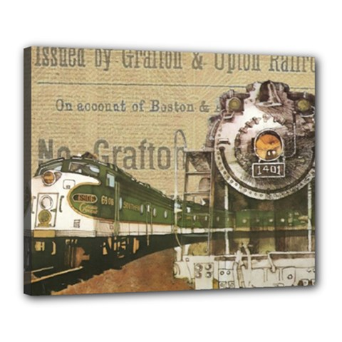 Train Vintage Tracks Travel Old Canvas 20  X 16