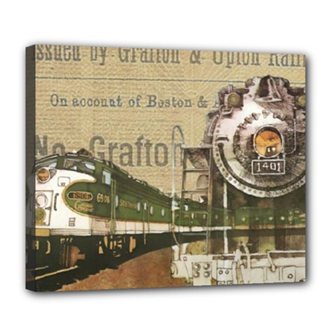 Train Vintage Tracks Travel Old Deluxe Canvas 24  X 20