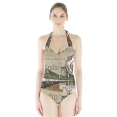 Train Vintage Tracks Travel Old Halter Swimsuit