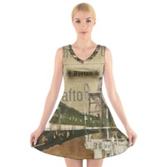 Train Vintage Tracks Travel Old V Neck Sleeveless Skater Dress