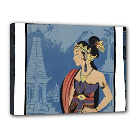 Java Indonesia Girl Headpiece Canvas 16  X 12