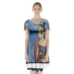 Java Indonesia Girl Headpiece Short Sleeve V Neck Flare Dress