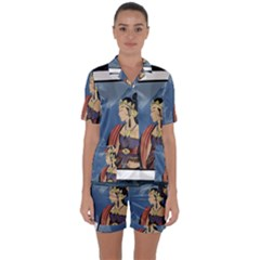 Java Indonesia Girl Headpiece Satin Short Sleeve Pyjamas Set