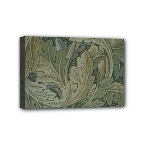 Vintage Background Green Leaves Mini Canvas 6  X 4