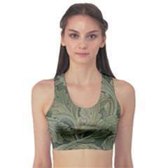 Vintage Background Green Leaves Sports Bra
