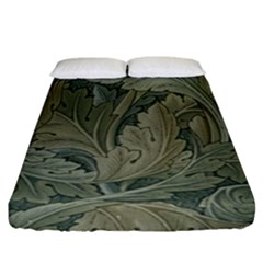 Vintage Background Green Leaves Fitted Sheet (california King Size)