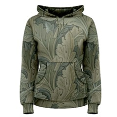 Vintage Background Green Leaves Women s Pullover Hoodie