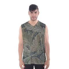 Vintage Background Green Leaves Men s Basketball Tank Top