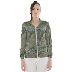 Vintage Background Green Leaves Wind Breaker (women)
