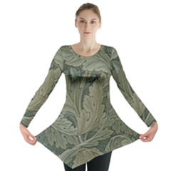 Vintage Background Green Leaves Long Sleeve Tunic