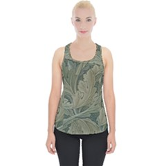 Vintage Background Green Leaves Piece Up Tank Top