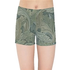 Vintage Background Green Leaves Kids Sports Shorts