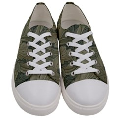 Vintage Background Green Leaves Women s Low Top Canvas Sneakers