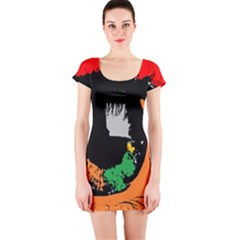 Eyes Makeup Human Drawing Color Short Sleeve Bodycon Dress