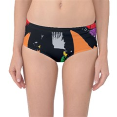 Eyes Makeup Human Drawing Color Mid Waist Bikini Bottoms
