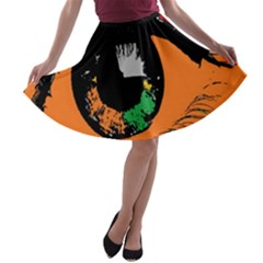 Eyes Makeup Human Drawing Color A Line Skater Skirt