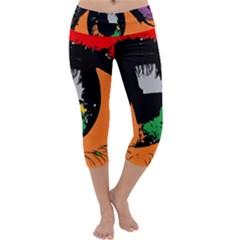 Eyes Makeup Human Drawing Color Capri Yoga Leggings