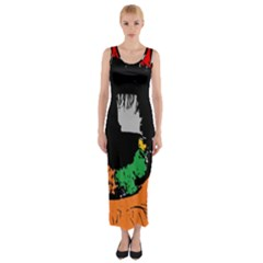 Eyes Makeup Human Drawing Color Fitted Maxi Dress
