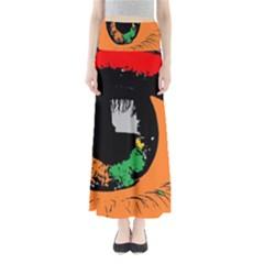 Eyes Makeup Human Drawing Color Full Length Maxi Skirt