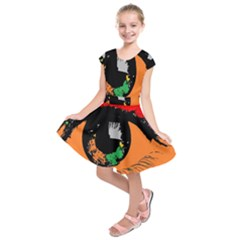 Eyes Makeup Human Drawing Color Kids  Short Sleeve Dress