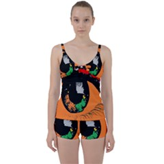 Eyes Makeup Human Drawing Color Tie Front Two Piece Tankini