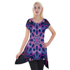 Mandala Circular Pattern Short Sleeve Side Drop Tunic by Nexatart
