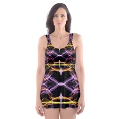 Wallpaper Abstract Art Light Skater Dress Swimsuit