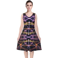 Wallpaper Abstract Art Light V Neck Midi Sleeveless Dress
