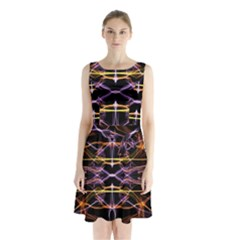 Wallpaper Abstract Art Light Sleeveless Waist Tie Chiffon Dress