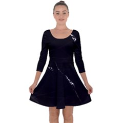 Black Marble Tiles Rock Stone Statues Quarter Sleeve Skater Dress