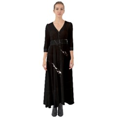 Black Marble Tiles Rock Stone Statues Button Up Boho Maxi Dress