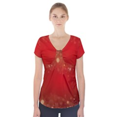 Background Abstract Christmas Short Sleeve Front Detail Top
