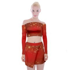 Background Abstract Christmas Off Shoulder Top With Mini Skirt Set
