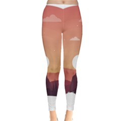 Design Art Hill Hut Landscape Classic Winter Leggings