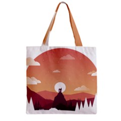 Design Art Hill Hut Landscape Zipper Grocery Tote Bag
