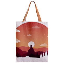 Design Art Hill Hut Landscape Zipper Classic Tote Bag