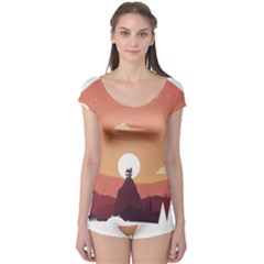 Design Art Hill Hut Landscape Boyleg Leotard