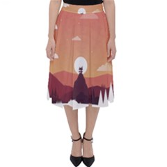 Design Art Hill Hut Landscape Folding Skater Skirt