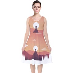 Design Art Hill Hut Landscape V Neck Midi Sleeveless Dress