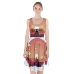 Design Art Hill Hut Landscape Racerback Midi Dress