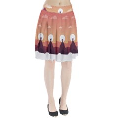 Design Art Hill Hut Landscape Pleated Skirt