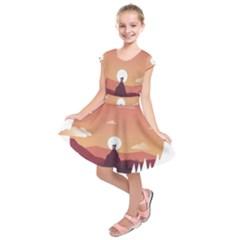 Design Art Hill Hut Landscape Kids  Short Sleeve Dress