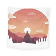 Design Art Hill Hut Landscape Square Tapestry (small)
