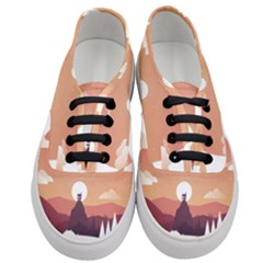 Design Art Hill Hut Landscape Women s Classic Low Top Sneakers